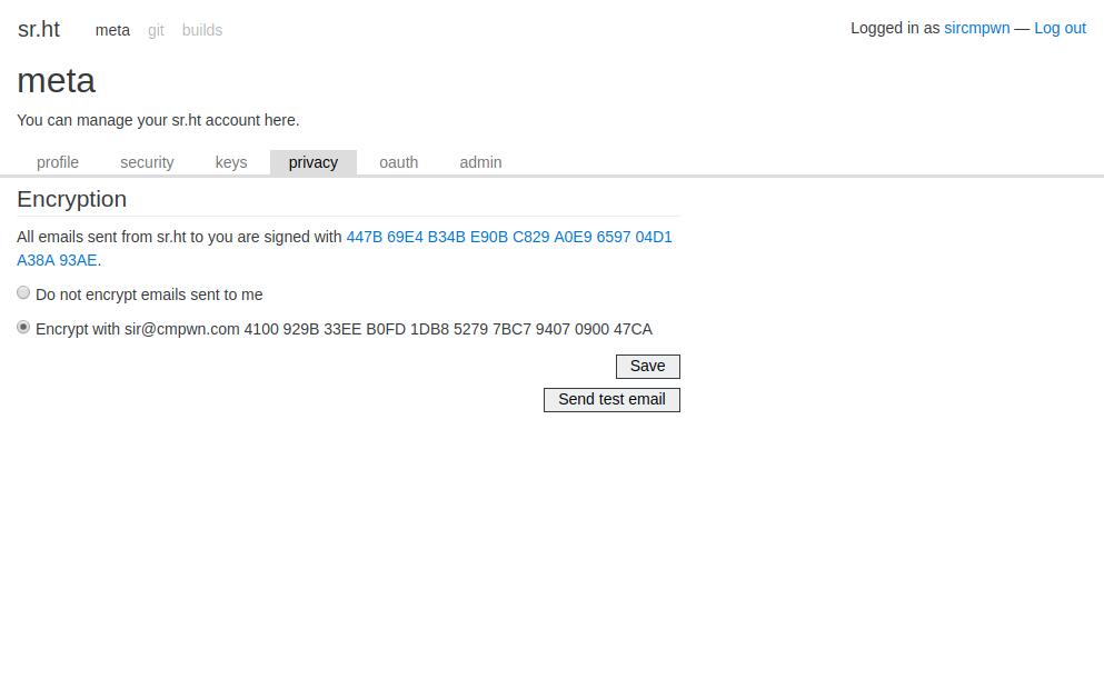 Screenshot of meta.sr.ht