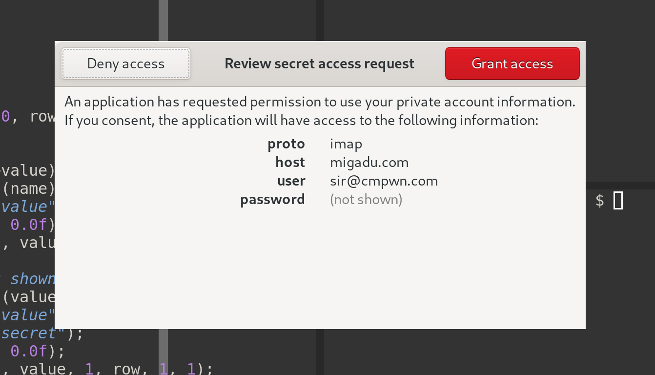 A GUI dialog asking a user to consent to allow an application to access their IMAP credentials