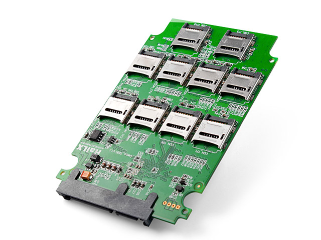 Picture of a SATA card for RAIDing 10 microSD cards together