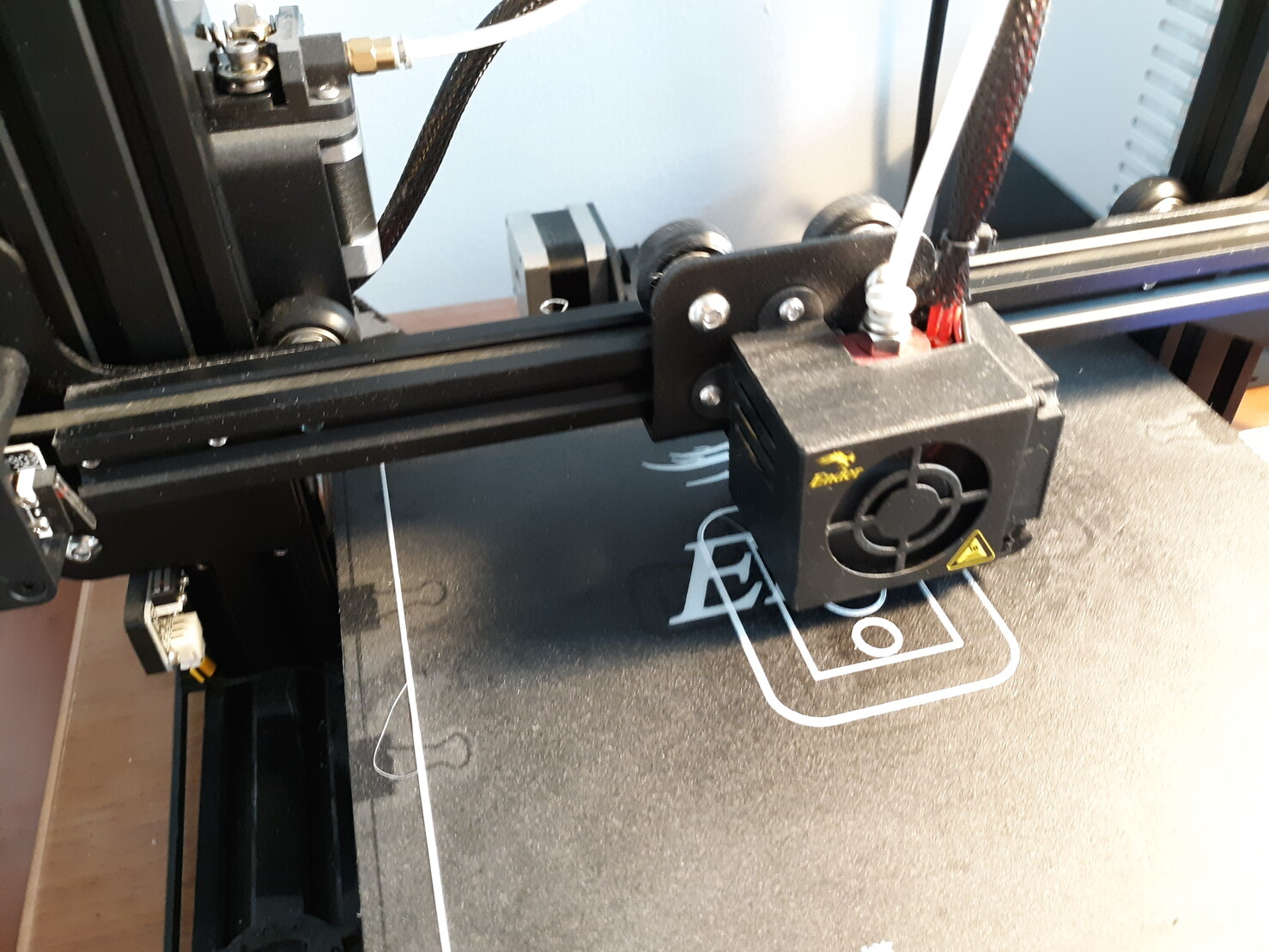 Picture of my 3D printer working on the part