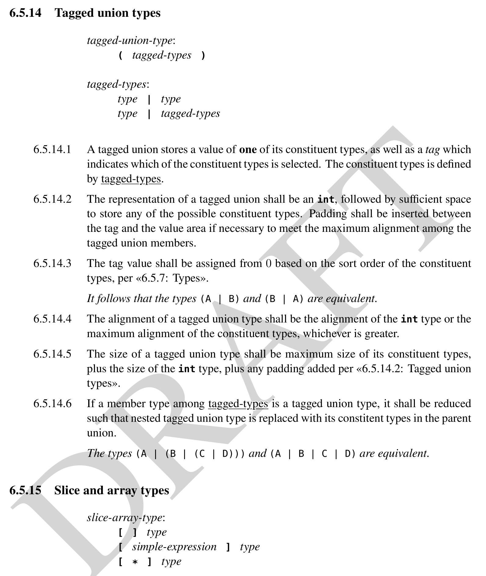A screenshot of a page of a programming language specification detailing the syntax of tagged unions